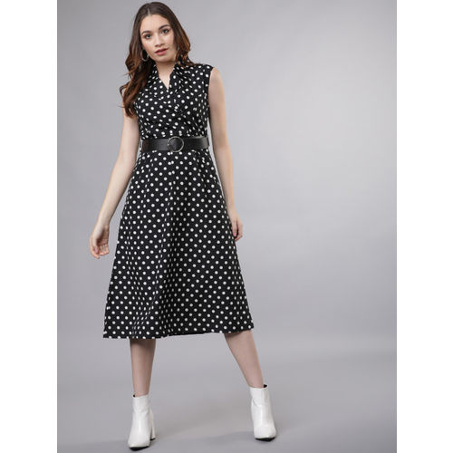 Tokyo Talkies Women Black And White Printed Shirt Dress
