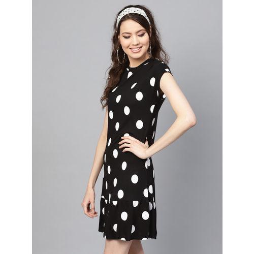 SASSAFRAS Women Black & White Polka Dot Print A-Line Dress