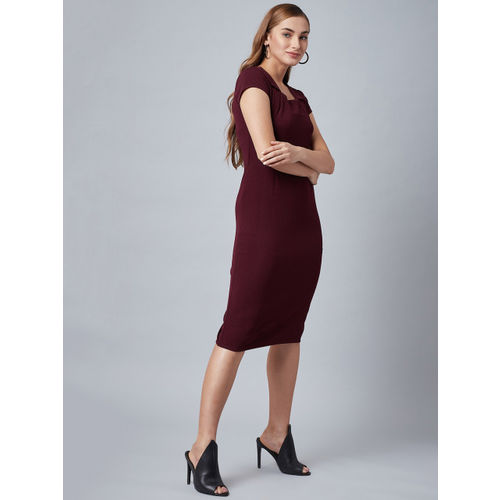 Athena Women Burgundy Solid Sheath Dress