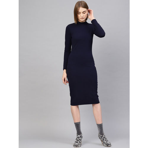 SASSAFRAS Women Navy Blue Solid Sheath Dress