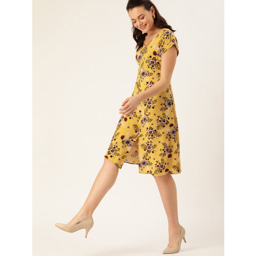 DressBerry Women Mustard Yellow & Coffee Brown Floral Print Fit and Flare Dress