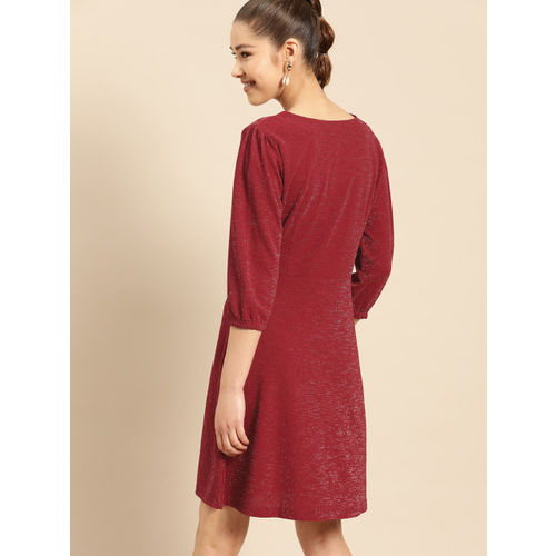 DressBerry Women Maroon Solid Shimmer Fit and Flare Dress