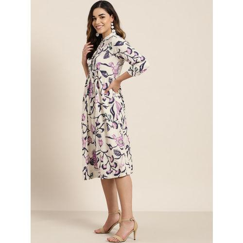 Sangria Women Off-White & Navy Blue Floral Print A-Line Dress