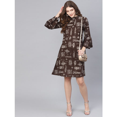 AASI - HOUSE OF NAYO Women Coffee Brown & Beige Printed A-Line Dress