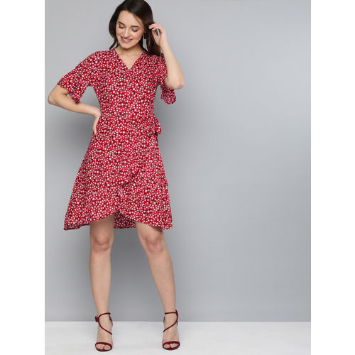 HERE&NOW Women Red Printed Wrap Dress With Tie-Up Detail