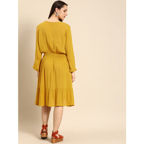 DressBerry Women Mustard Yellow Solid Fit and Flare Dress