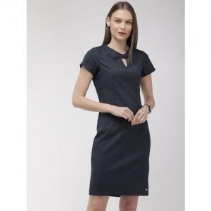 Park Avenue Business Women Navy Blue Checked Sheath Dress