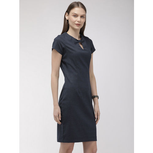 Park Avenue Business Women Navy Blue Checked Sheath Dress