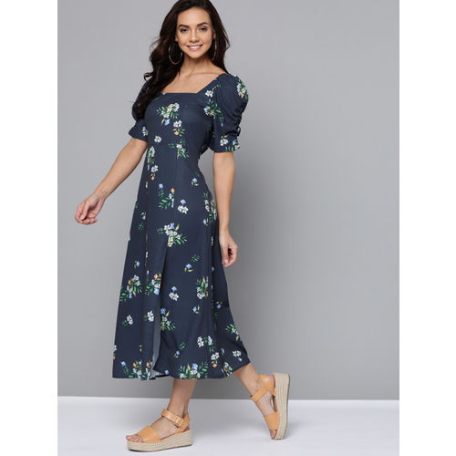 Mast & Harbour Women Navy Blue & Green Floral Printed A-Line Dress