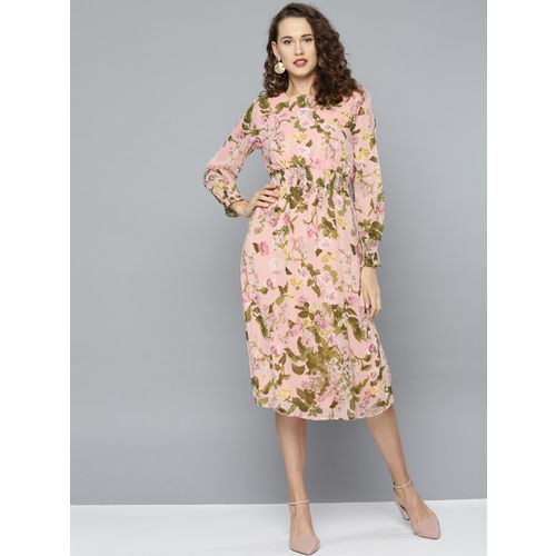 RARE Women Peach-Coloured & Olive Green Floral Printed Shift Dress