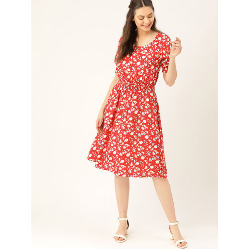 DressBerry Women Red & White Printed A-Line Dress