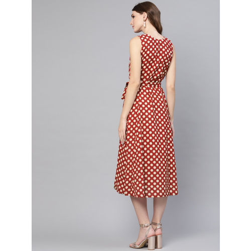 AASI - HOUSE OF NAYO Women Maroon & Off-White Printed A-Line Dress