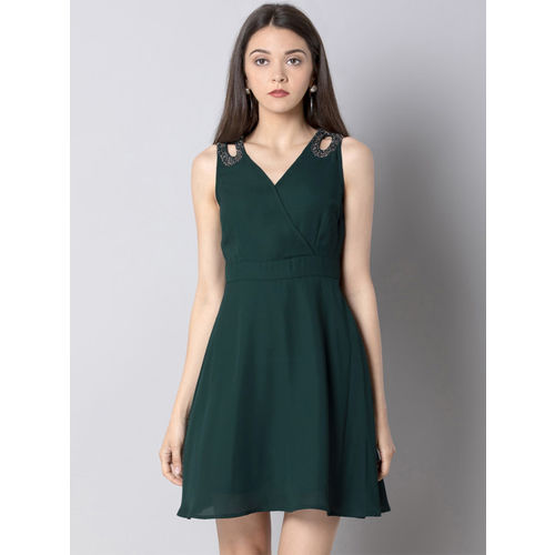 FabAlley Women Solid Green Fit and Flare Dress