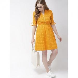 Harvard Women Yellow Polka Dot Print Fit and Flare Dress
