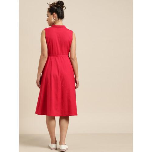 Shae by SASSAFRAS Women Red Solid Shirt Dress