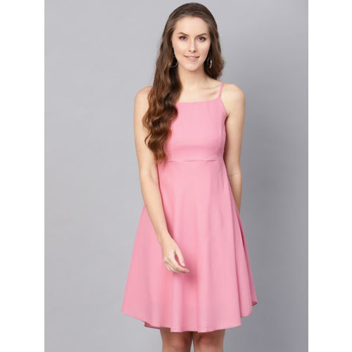 SASSAFRAS Women Pink Solid Fit and Flare Dress