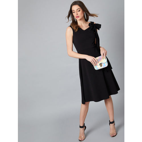 Athena Women Black Solid Fit and Flare Dress