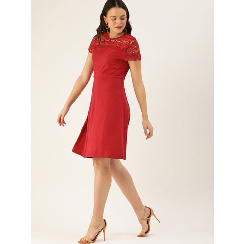 DressBerry Women Red Solid A-Line Dress With Lace Inserts