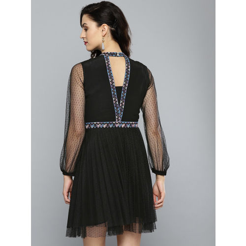 Label Ritu Kumar Women Black Self-Design Fit and Flare Dress