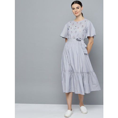 Marie Claire Women Blue & White Striped Fit & Flare Dress with Embroidered Detail