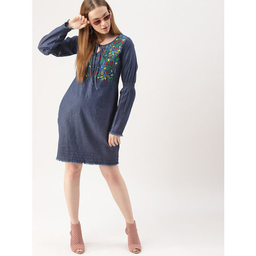 DressBerry Women Navy Blue Solid Denim A-Line Dress