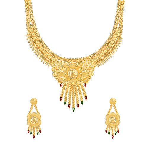 Mansiyaorange multi colored metal necklaces and earring