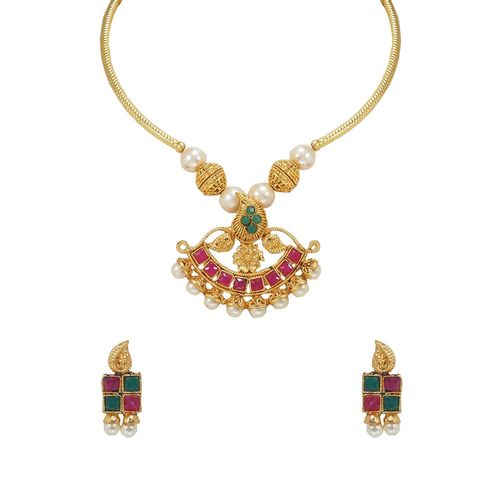 RAJKANYA pink metal short necklace
