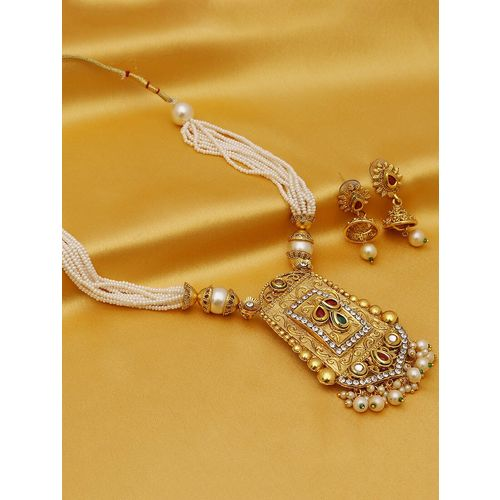 Sukkhi red gold plated necklaces and earring