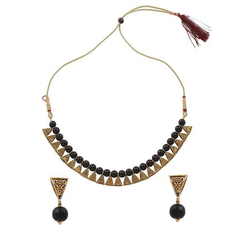 Rich Creation black metal necklaces and earring