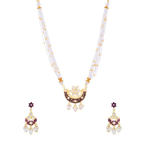 Sukkhi purple gold plated necklaces and earring