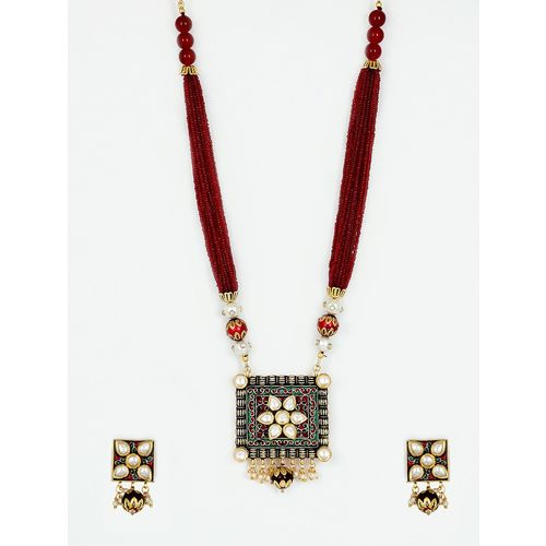 Piah Fashion red gold plated pearl necklace