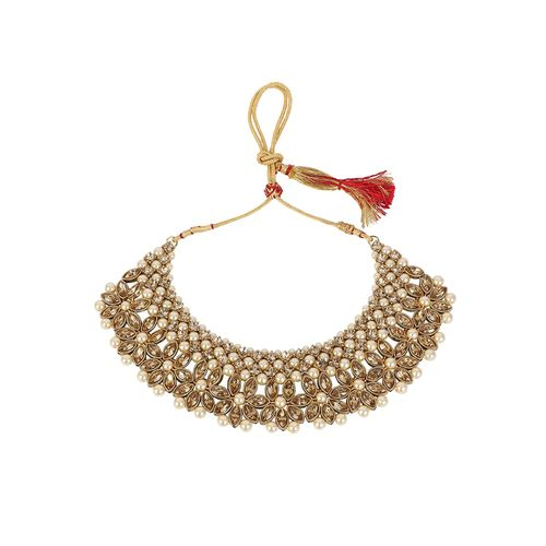 MUCH MORE beige brass choker necklace