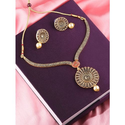 Silver Shine gold metal necklaces and earring