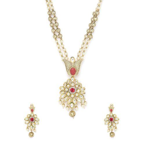 Panash red metal short necklace