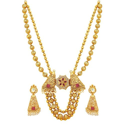 Sukkhi gold brass necklaces and earring