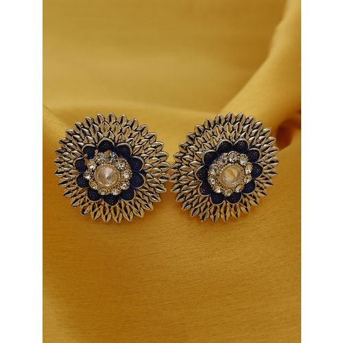 Sukkhi blue silver plated studs earring