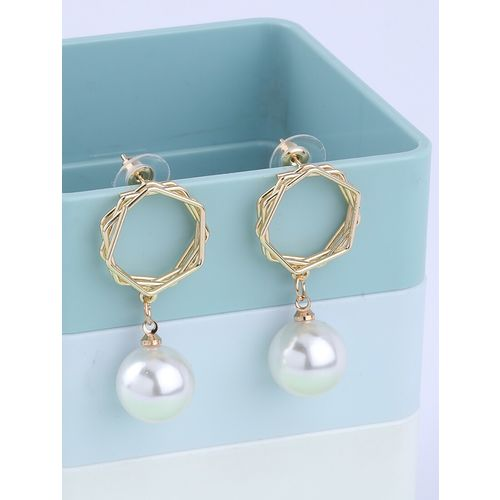 Silver Shine gold metal drop earring