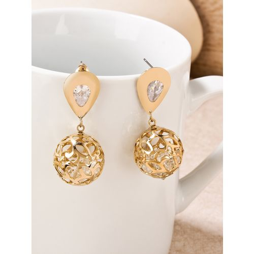 Faryal gold metal drop earrings