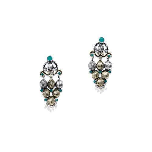Panash green brass drop earring