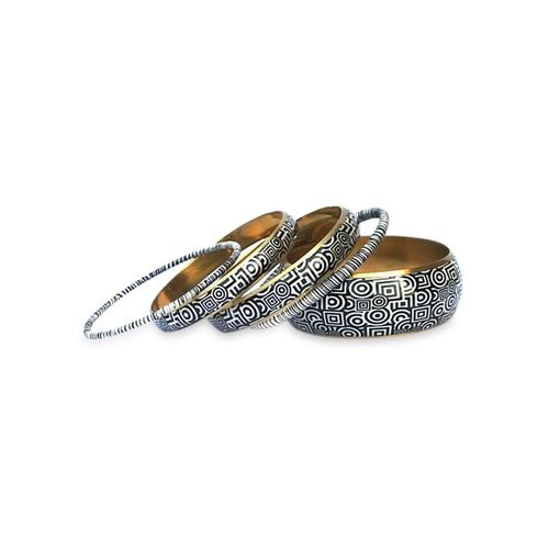 CZFashions multicolor metallic bangles set