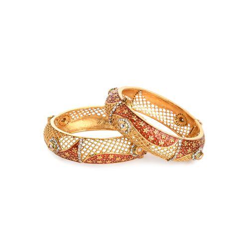 Imli street red gold metal bangle