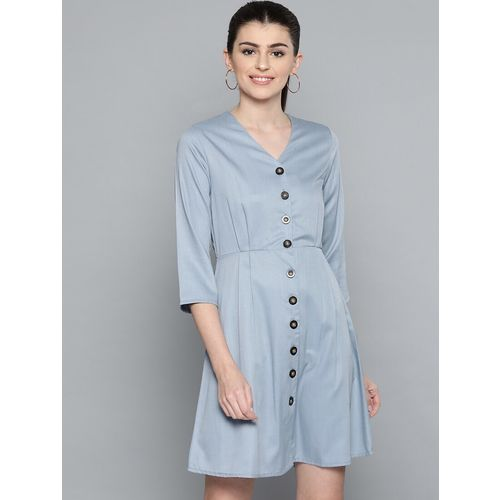 Harpa button up solid a-line dress