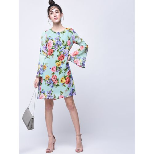 A K Fashion floral bell sleeves a-line dress
