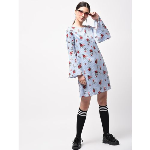 A K Fashion bell sleeved floral striped dress