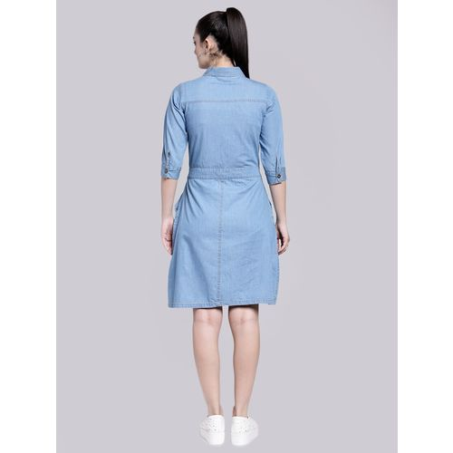 PLUSS tie up front embroidered dress