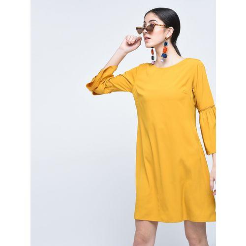 A K Fashion mustard frilled detail shift dress
