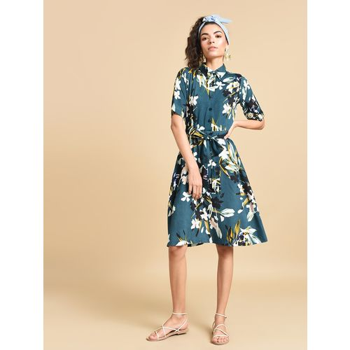 Inuka tie front floral a-line dress