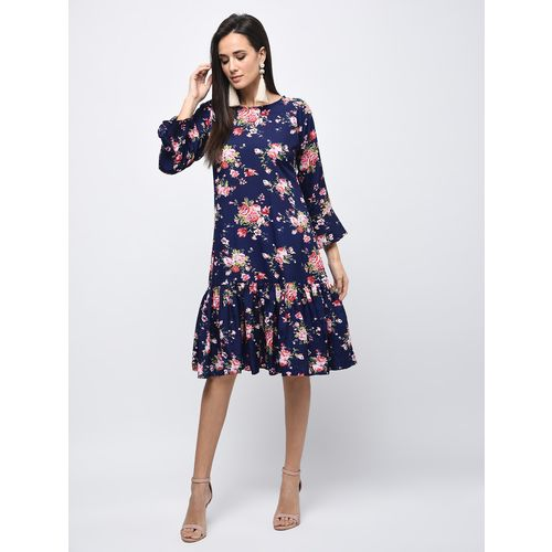 Myshka flute sleeved floral a-line dress