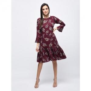 Myshka gathered hem floral a-line dress