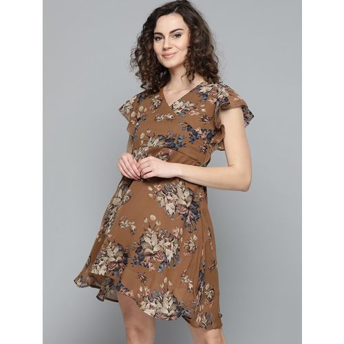 Trend Arrest ruffle sleeved floral fit & flare dress